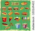 FAST FOOD elements and labels - stock vector