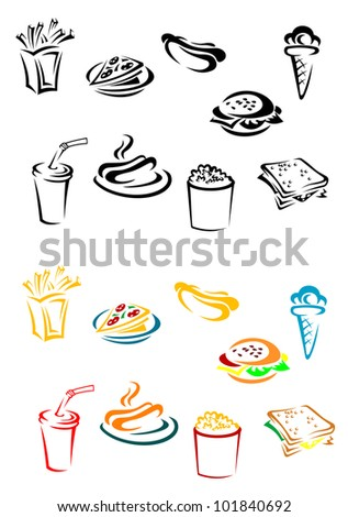 Fast food elements set in color and w/b variations, such logo. Jpeg version also available in gallery - stock vector