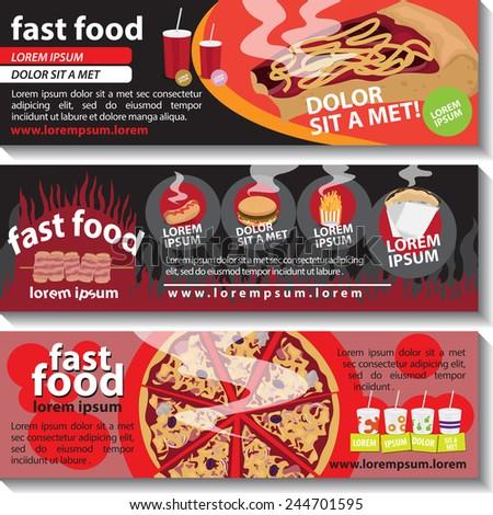 Fast Food Flyer Template Set Vector Stock Vector 244701595 ...