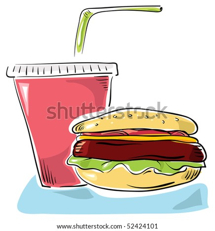 Fast food - Hamburger and cola