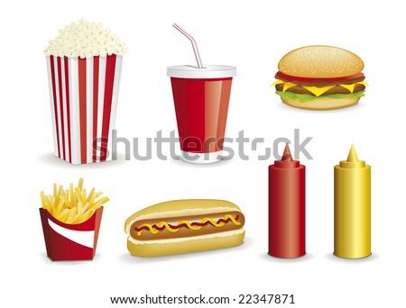 fast food, Hamburger, french fries, popcorn, cola - stock vector