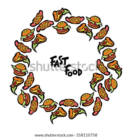 Fast Food Hamburger Hot Dog Slice Stock Vector 358110758 - Shutterstock