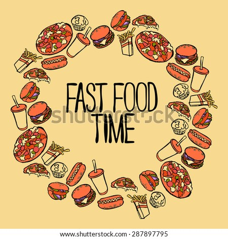 Fast Food Hamburger Hot Dog Pizza Stock Vector 287897795 - Shutterstock