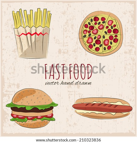 Fast food hand drawn icons. Grunge background. Vector illustration.