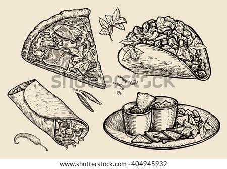 fast food. Hand drawn pizza, sandwich, tacos, nachos, burrito, shawarma, pita bread. Sketch vector illustration - stock vector