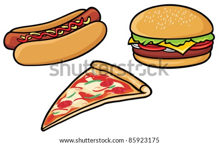fast food (hot dog, pizza, hamburger) - stock vector