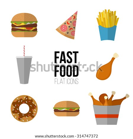 Fast food icon design. Flat icons of junk food isolated on white. Illustration of unhealthy food, diet or restaurant menu elements. Hamburger, cheeseburger, fried chicken, french fries, pizza, donut. - stock vector