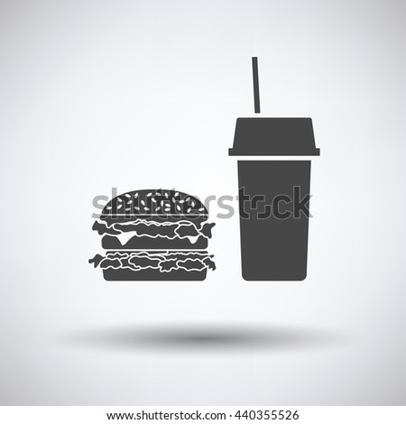 Fast food icon on gray background, round shadow. Vector illustration.