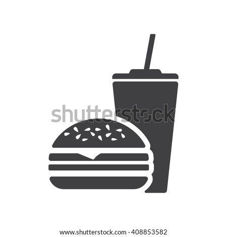 Fast Food icon on the white background. - stock vector