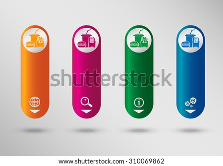 Fast food icon  on vertical infographic design template, can be used for workflow layout, web design.  - stock vector