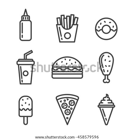 Fast food icon set.