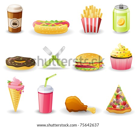 Fast food icon set.  Isolated on a white background. - stock vector