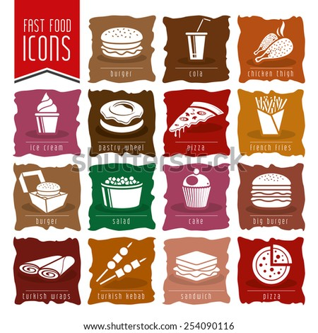 Fast food icons - 5 - stock vector