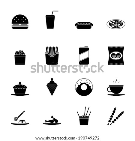 Fast Food Icons and Symbols Silhouette Set Vector Illustration - stock vector