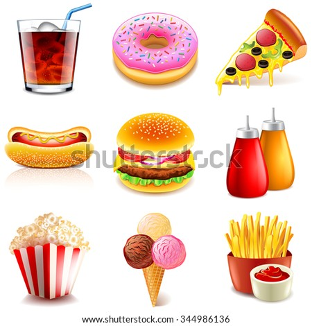 Fast food icons detailed photo realistic vector set - stock vector