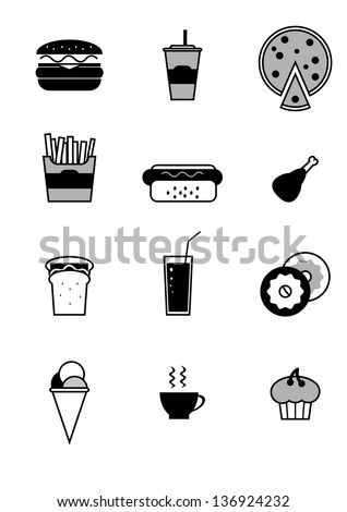 fast food icons, eps 10