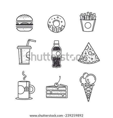 Fast food icons, graphic design elements