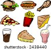Fast food icons, hand-drawn look: hamburger, hotdog, fried chicken, pizza, fries, grilled cheese sandwich, coke, pie, shake. Vector illustration - stock photo