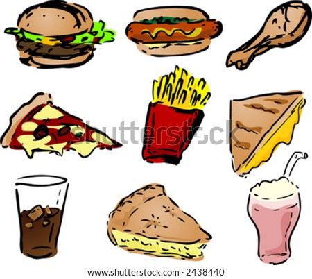Fast food icons, hand-drawn look: hamburger, hotdog, fried chicken, pizza, fries, grilled cheese sandwich, coke, pie, shake. Vector illustration - stock vector