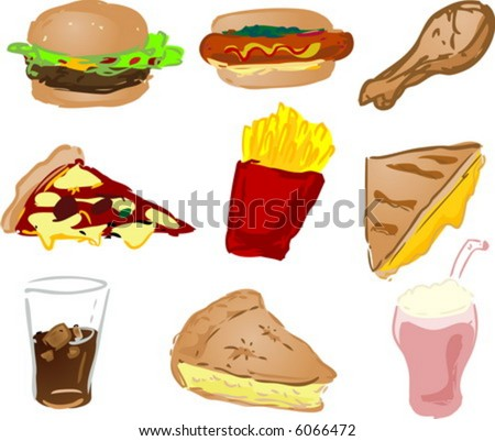 Fast food icons, hand-drawn look: hamburger, hotdog, fried chicken, pizza, fries, grilled cheese sandwich, coke, pie, shake - stock vector