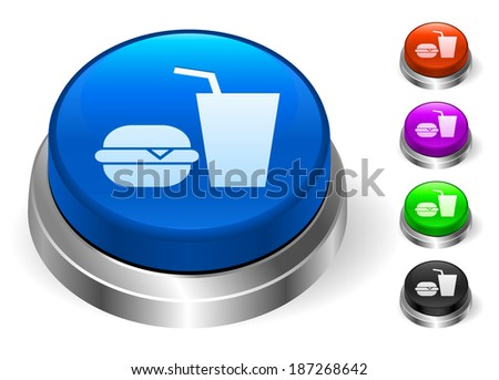 Fast Food Icons on Round Button Collection