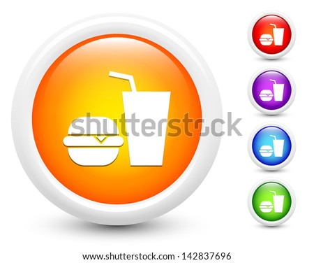 Fast Food Icons on Round Button Collection Original Illustration - stock vector