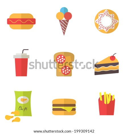 Fast Icon Design Fast Food Icons Set For Menu