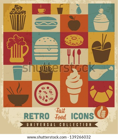 Fast food icons set.vector - stock vector