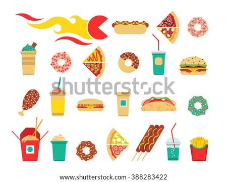 Fast food icons set. Vector fast food icons. Fast food isolated icons. Flat fast food icons. - stock vector