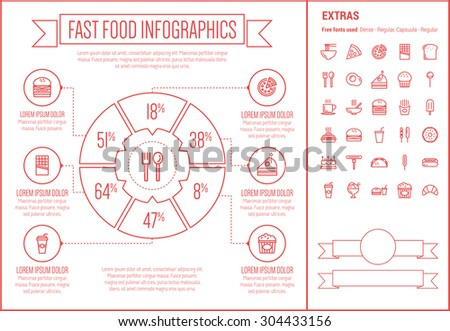Fast food infographic template and elements. The template includes the following set of icons - honey dipper, frying pan, casserole, serving tray, hot meal, sunny side up egg,  bread and more - stock vector