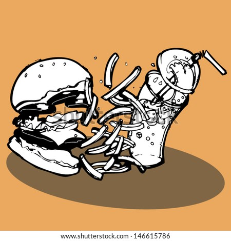 Fast food items that include a Burger, french fries and cola appear to be flying off the plate or tray. The image was hand drawn and then made digital. - stock vector