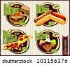 Fast food label - stock