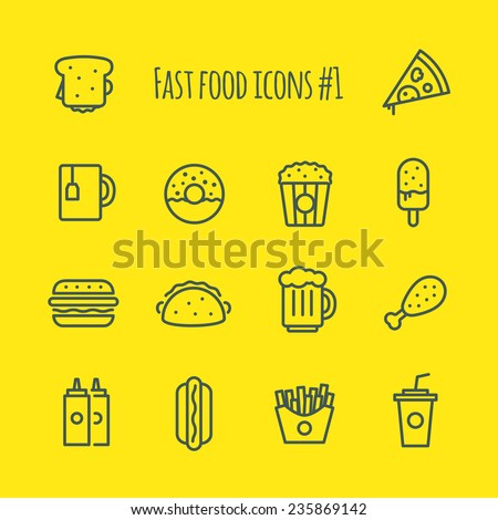 Fast Food Line Icons Set 1 - stock vector