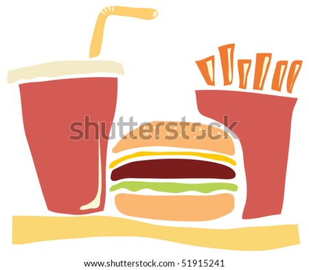 Fast food meal consisting of a hamburger, fries and cola.