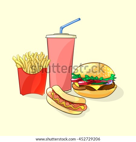 Fast food meal in cartoon style. Beverage cup with burger, french fries and hot dog. Vector illustration