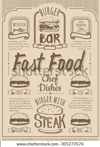 Fast Food menu. Burger bar set. Simple drawn sketch in vector format. - stock vector