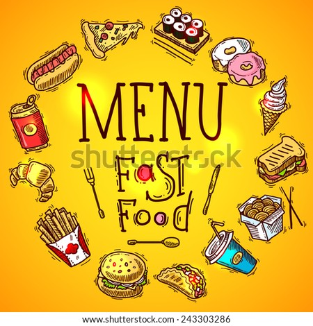 Fast food menu concept with colored sketch soda sandwich and chicken decorative icons vector illustration - stock vector
