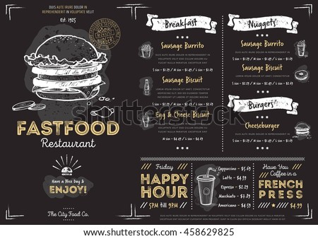 Fast Food Menu Cover Layout With Breakfast, Drinks, And Other Menu Items On  Chalkboard