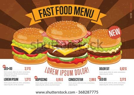 Fast Food Menu Design Fast Food Stock-Vektorgrafik (Lizenzfrei ...