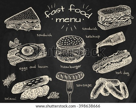 fast food menu, hamburger, snack, bread, burger, sandwich, chicken, poster, breakfast,  eggs, sausage, bacon, salami, ketchup, omelet - stock vector