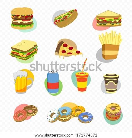 fast food menu retro art - stock vector