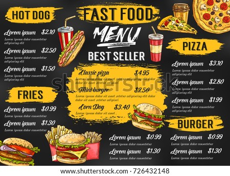 Fast Food Menu Template Fastfood Restaurant Stock Vector