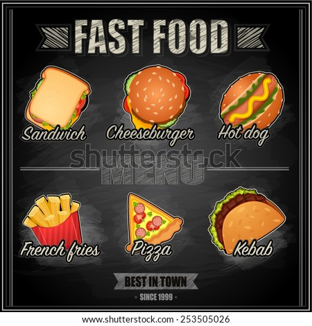 Fast food menu - vector illustration - stock vector