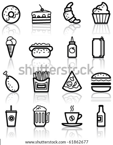 Fast food minimalistic icons set - stock vector