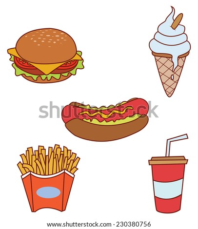 Fast Food  Object Collection  - stock vector