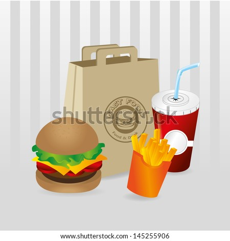 fast food over gray background vector illustration - stock vector