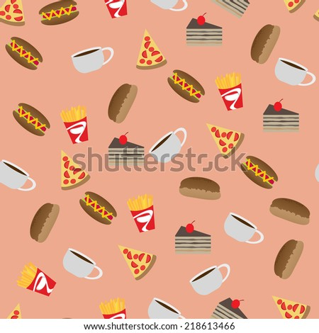 fast food pattern - stock vector