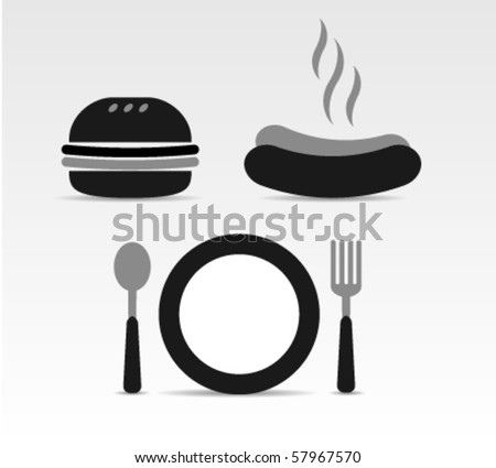 fast food pictogram - stock vector