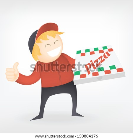 fast food pizza delivery man smile  - stock vector