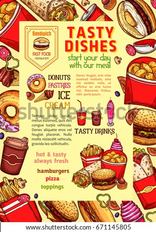 fast food poster daily meals fastfood stock vector 671145805